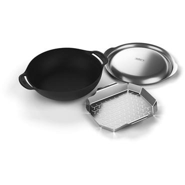 Weber Gourmet BBQ System Wok inklusive Ånginsats och Lock Gjutjärn och Rostfritt Stål Nyhet